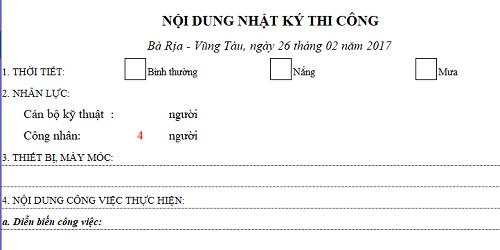 Bảng tính Excel nhật ký thi công xây dựng đầy đủ