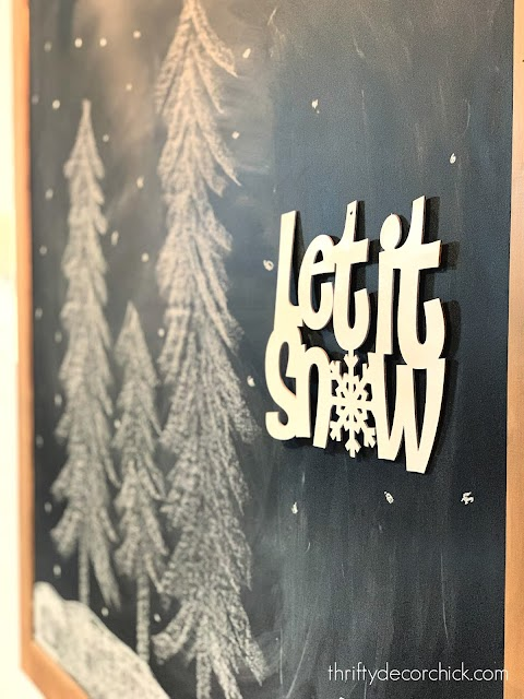Snowy chalkboard design with trees