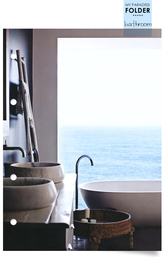 Modern ethnic bathroom with a sea view