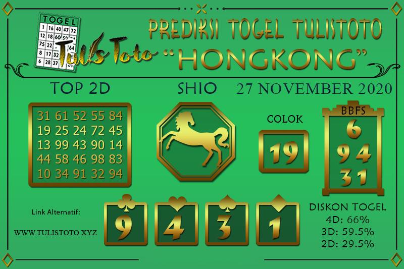 Prediksi Togel HONGKONG TULISTOTO 27 NOVEMBER 2020