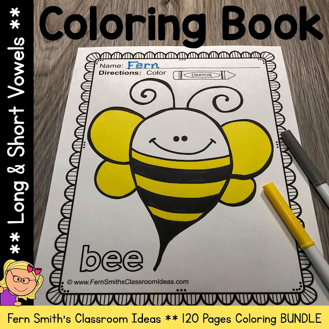 You will LOVE the 120 coloring pages that come in this Long Vowels and Short Vowels Coloring Book Pages resource! Add it to your plans to compliment any Long Vowels and Short Vowels Unit! Terrific for a daily coloring page OR have a parent volunteer bind them into a LONG VOWELS AND SHORT VOWELS COLORING BOOK for your students. Your students will ADORE these coloring pages because of the cute, cute, cute Long Vowels and Short Vowels graphics!