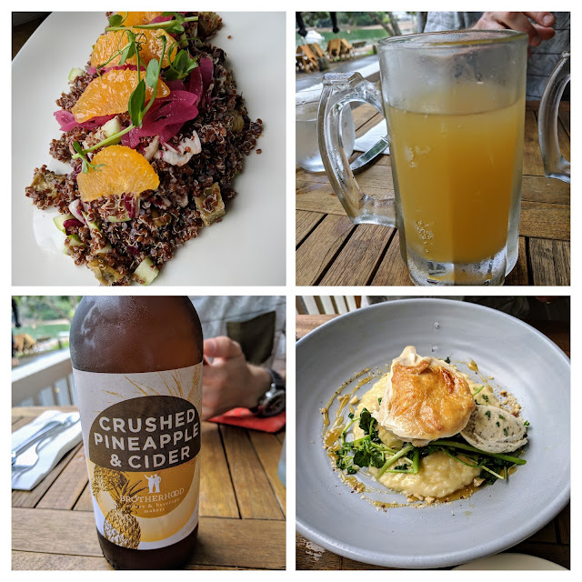 Things to do in Russell New Zealand: Collage of lunch pictures from the Duke of Marlborough Hotel