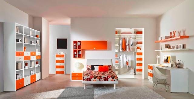 Dormitorio juvenil en naranja y gris