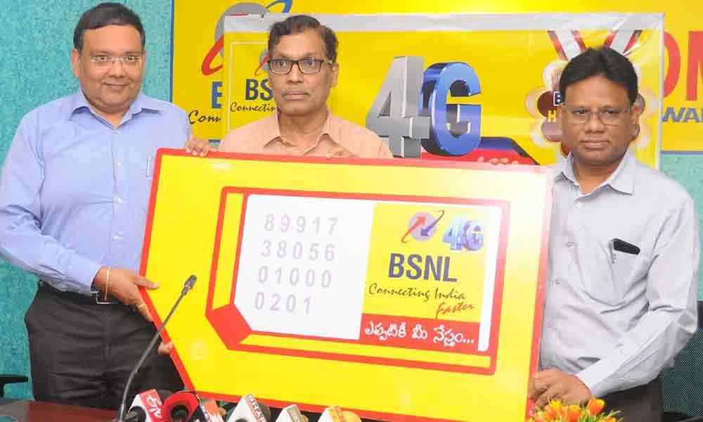 BSNL AP Circle Chief General Manager A P Rao and other officials launching 4G services at BSNL office in Vijayawada