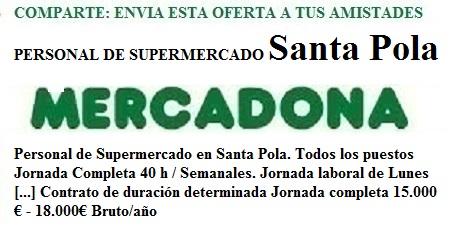 Santa Pola, Alacant, Alicante. Lanzadera de Empleo Virtual. Oferta Mercadona