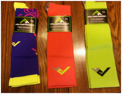 purple orange yellow compression socks