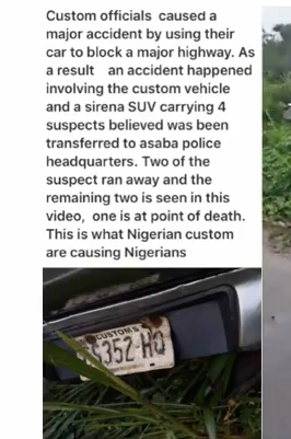 Two Suspects Escape, Others Injured As Customs Officials Cause Accident In Agbor, Delta State