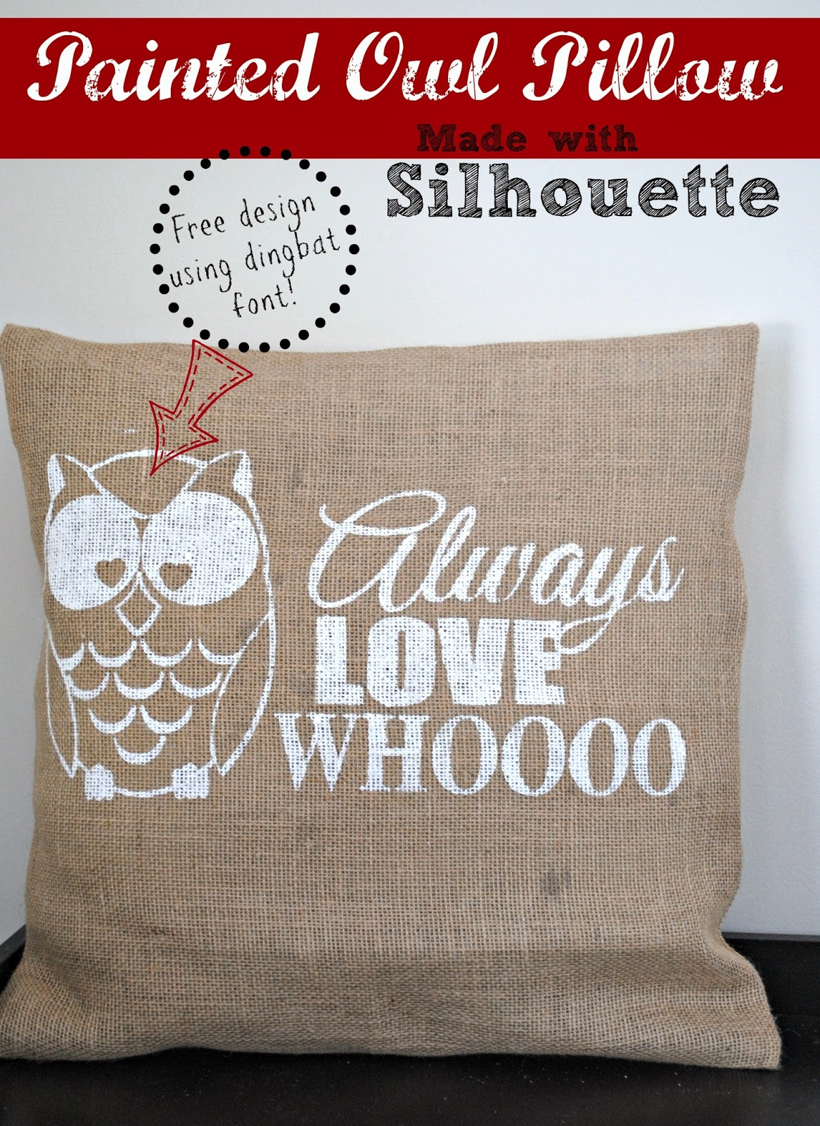 Owl, painted, pillow cover, DIY, do it yourself, Silhouette Studio, Silhouette tutorial