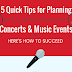 5 Quick Tips for Planning Concerts & Music Events #infographic