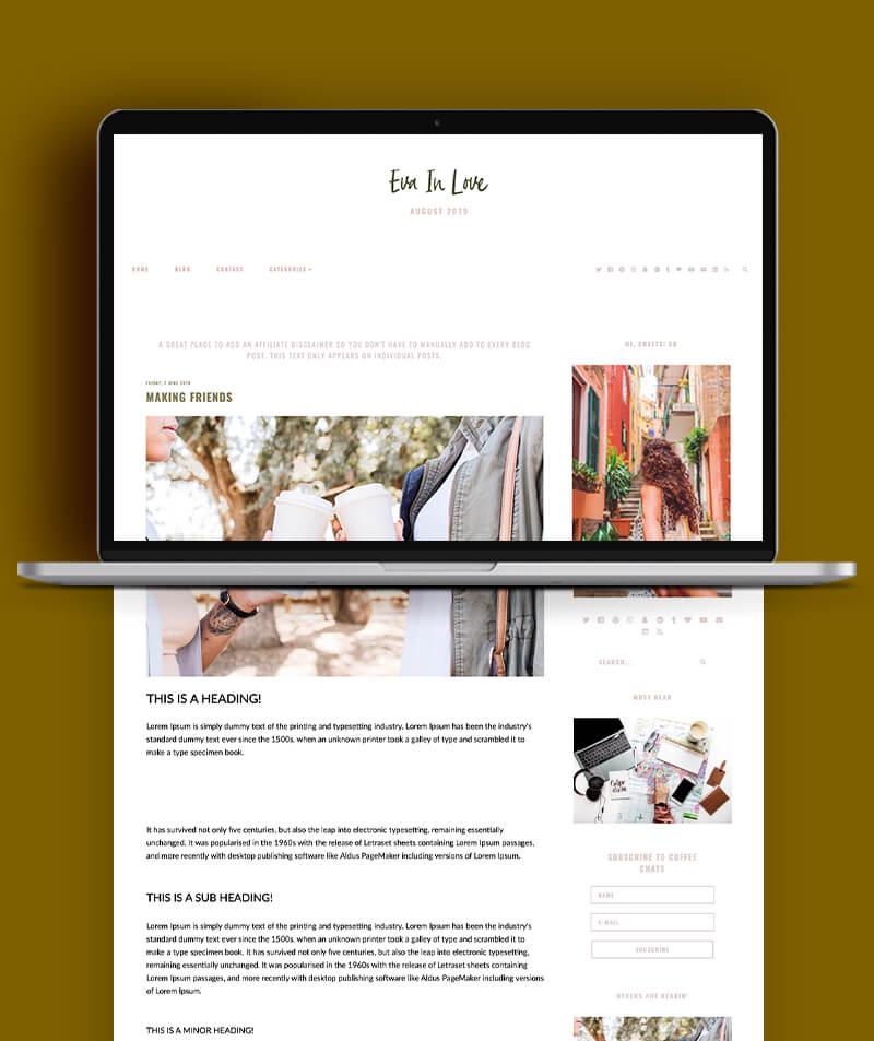 Eva in love blogger theme