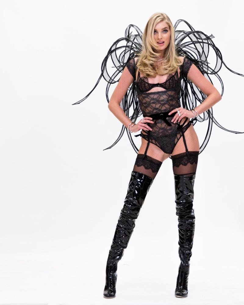 Elsa Hosk wears black costume for 2016 Victoria's Secret Fashion Show