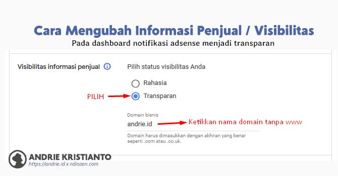 Cara Mengubah Visibilitas Informasi Penjual Pada Dashboard Notifikasi Adsense Menjadi Transparan