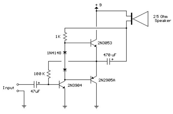 3 Transistor Audio Amp  80 Milliwatt