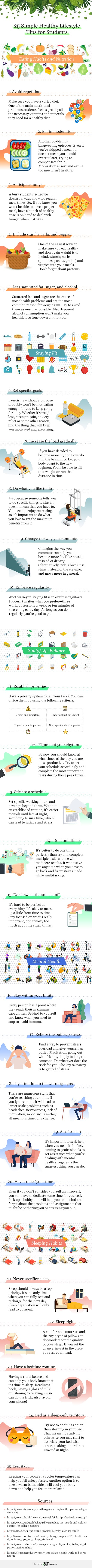 25 Simple Healthy Lifestyle Tips for Students #infographic