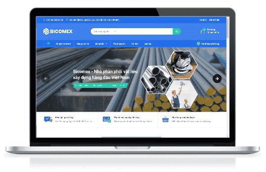 Giao diện blog bán hàng Vật liệu xây dựng Bicomex