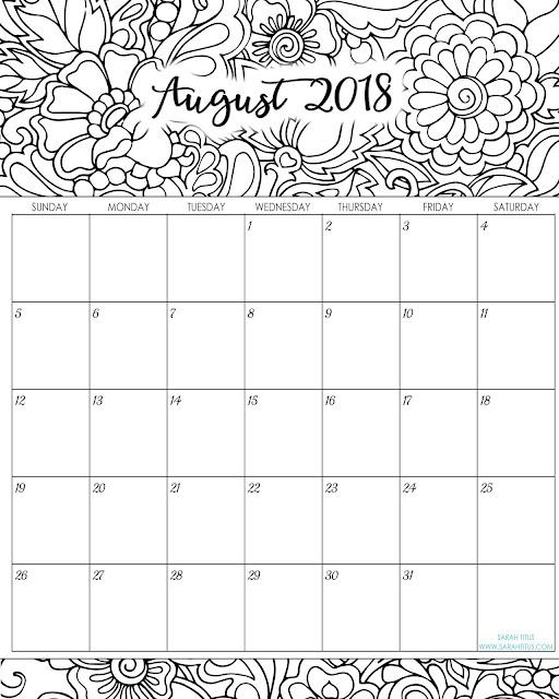 August 2018 Printable calendar Landscape