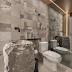 Lavabo rústico e sofisticado com cuba bruta esculpida em basalto e teto em madeira!