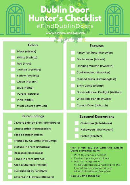 Free Doors of Dublin Treasure Hunt Checklist (scavenger hunt printables)