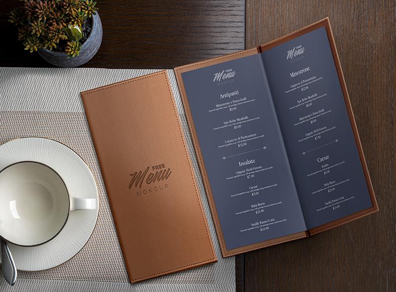 Free Restaurant Menu Mockup مبدعي الفوتوشوب