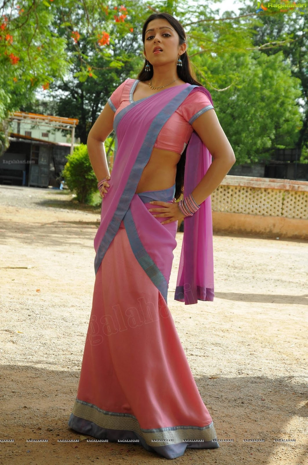 Charmi Kaur In Saree - Side Poses Hot Stills - Sabwoodcom-1954