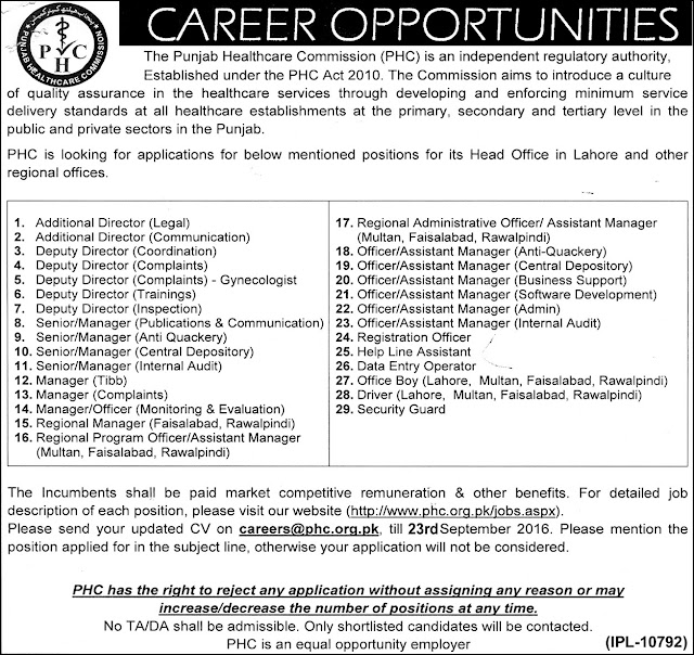 Jobs in Punjab Healthcare Commission Jobs
