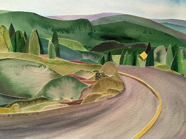 watercolor painted, cut paper road, hills, and trees
