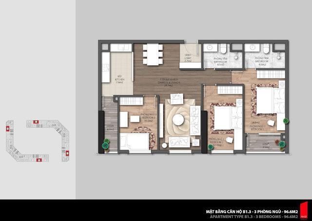 Thiết kế căn B1.3 diện tích 96,6m2 chung cư The Emerald