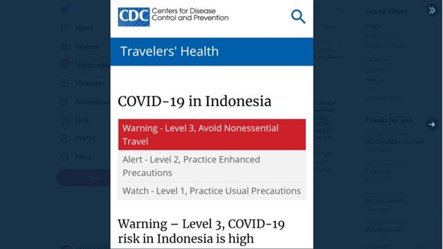 Tak Hanya Dilarang Masuk 59 Negara, Wisatawan Juga Diperingatkan CDC Level 3 untuk Hindari Indonesia