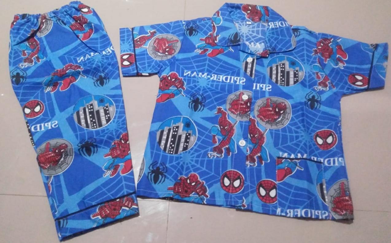 Jual Baju Piyama Anak di Tasik Bahan Katun M Spidermen Biru