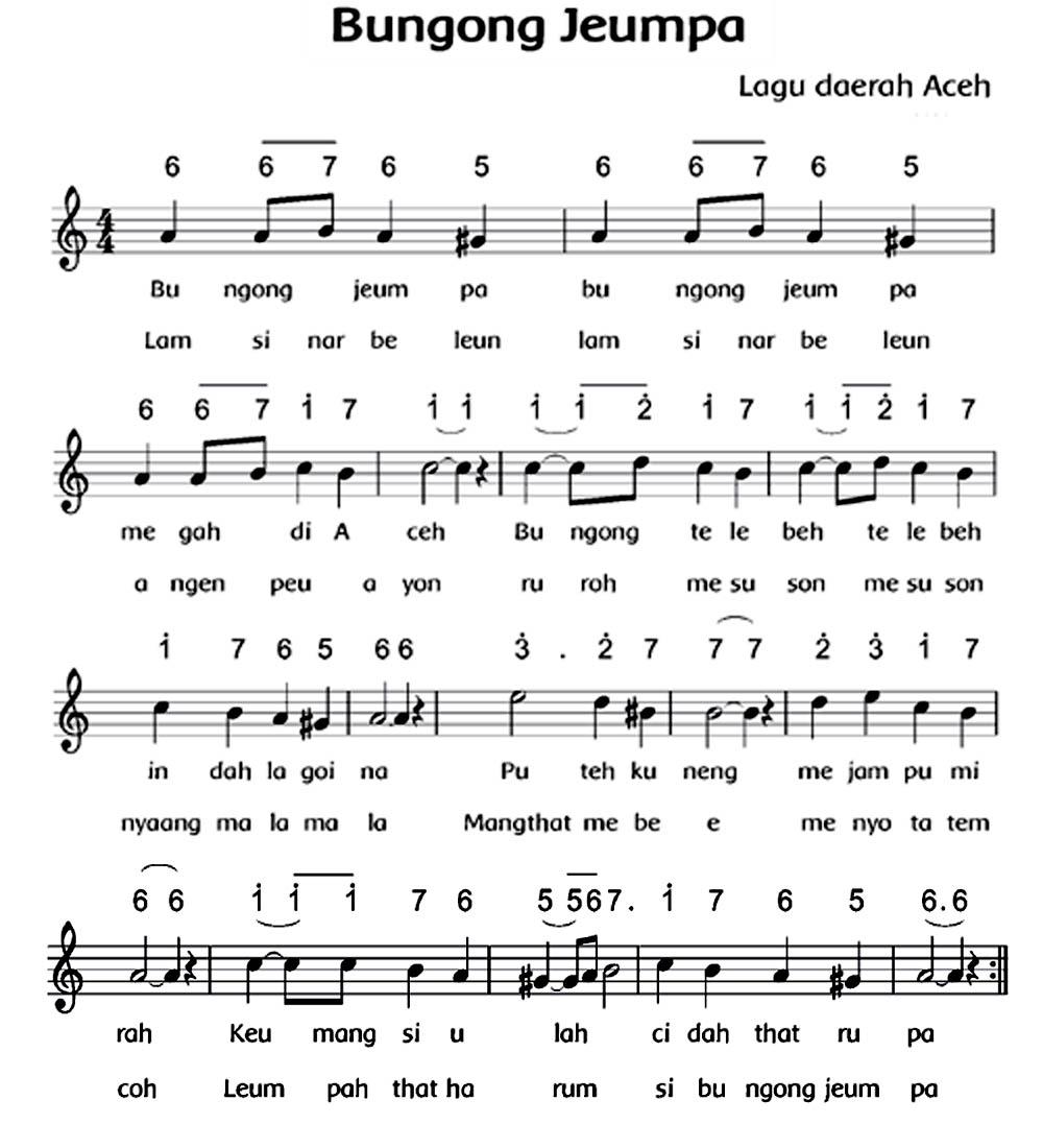 Lirik Dan Birama Lagu Bungong Jeumpa | tutorial komputer