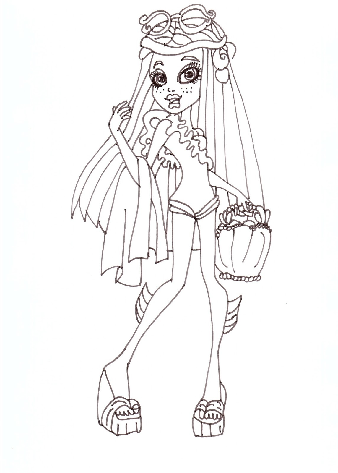 Free Printable Monster High Coloring Pages: Lagoona Swim