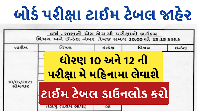GSEB: HSC AND SSC EXAM TIME TABLE GUJARAT 2021