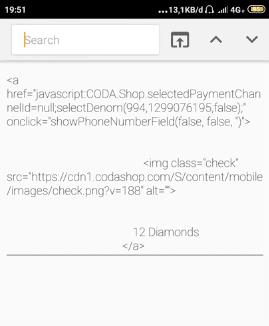 cara bug codashop html