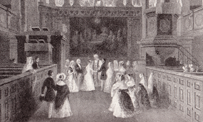 A fashionable wedding at St George's Hanover Square in 1841 from Life In Regency and Early  Victorian Times by EB Chancellor (1926)