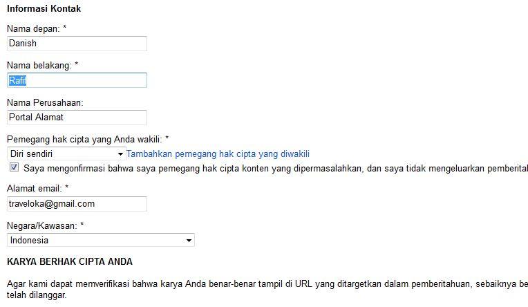 Tampilan Google DCMA 2