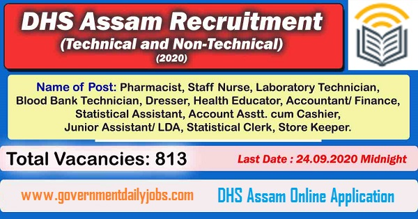 DHS Assam Grade-III Recruitment 2020 Technical/Non-Technical Posts