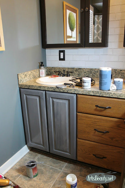 driftwood gray general finishes milk paint painted bathroom cabinet vanity makeover diy before and after boho