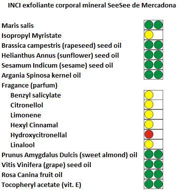 Mercadona exfoliante corporal mineral SeeSee INCI ingredientes