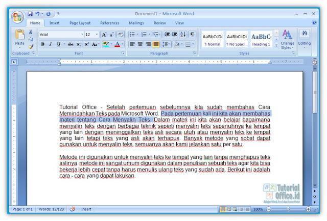 Copy Paste pada Microsoft Word