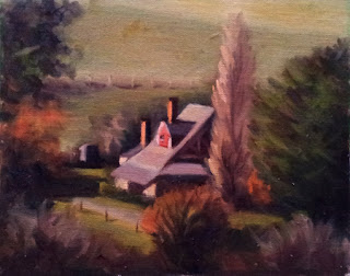 Oil painting of an Arts and Crafts style house next to a poplar tree and viewed from an elevated position.