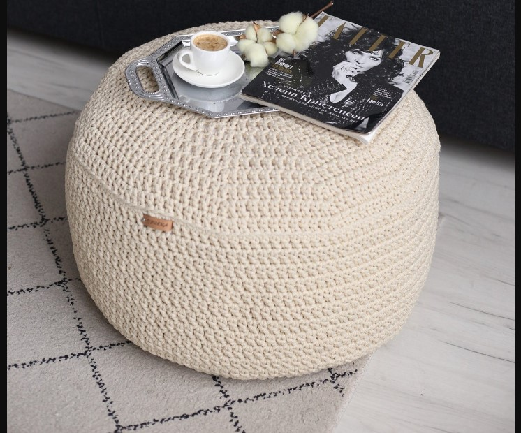 buy best cute round table with  white linen crochet pouf for sofa corner