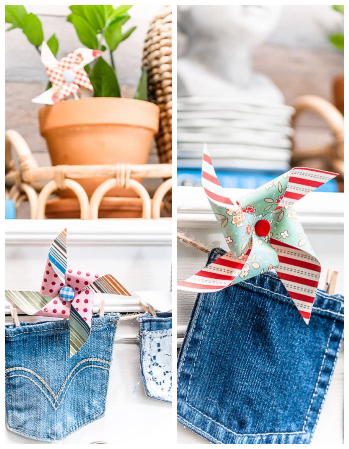 paper pinwheels in denim pocket garland