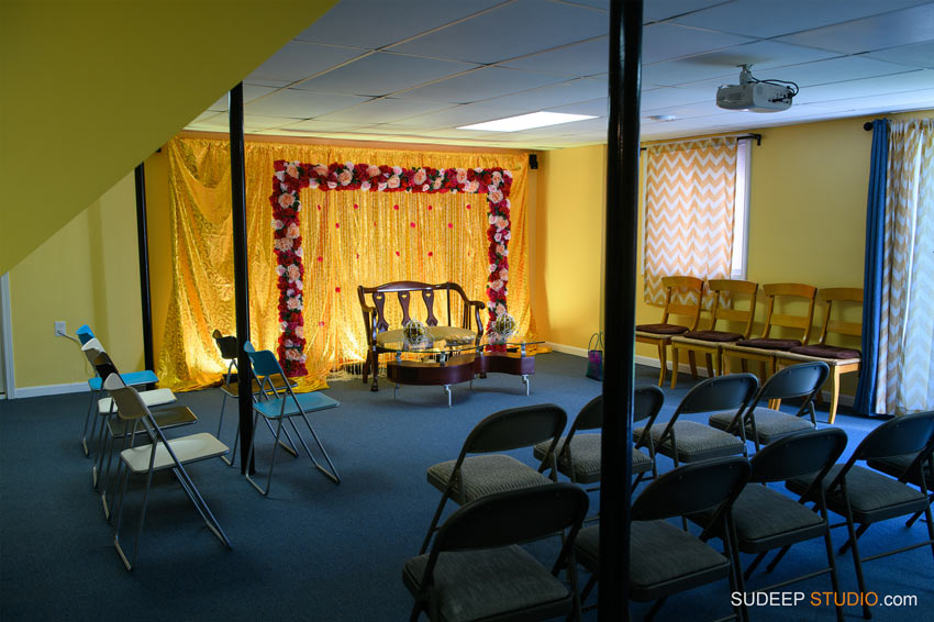 Saree and Dhoti Ceremony Decoration Photography by Ann Arbor Novi Indian Hindu Event Photographer