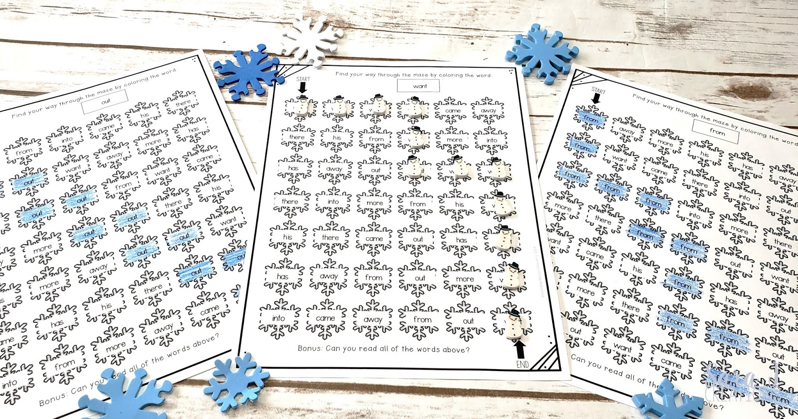 Free sight words printable mazes. With a fun snowflake theme, these are perfect for practicing any sight word list during the winter months.