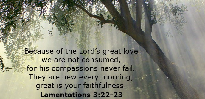Because of the Lord's great love we are not consumed, for his compassions never fail. They are new every morning; great is your faithfulness.
