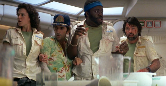 Ripley (Sigourney Weaver), Brett (Harry Dean Stanton), Parker (Yaphet Kotto) and Dallas (Tom Skerritt)