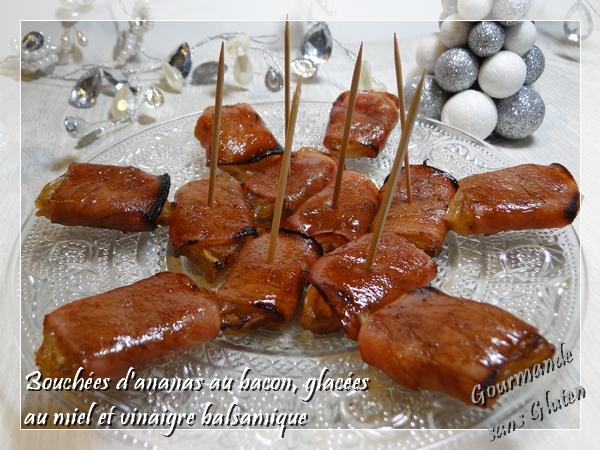 Bouchées à l'ananas et au bacon, glacées au miel et vinaigre balsamique