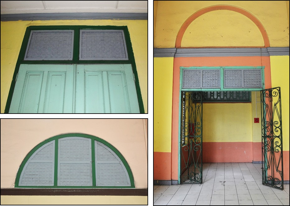 extant capis panes can be seen on the door transoms and semi-circular windows