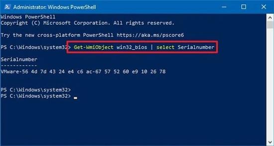 احصل سريال للكمبيوتر باستخدام PowerShell