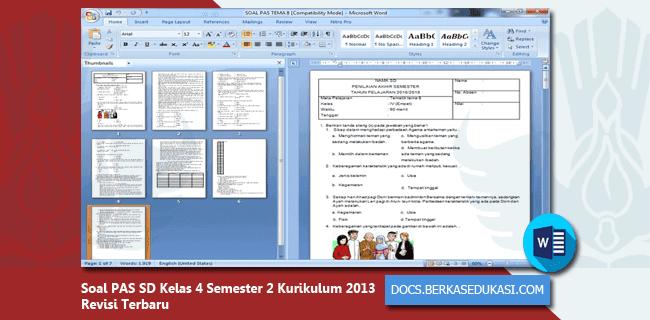 Soal PAS SD Kelas 4 Semester 2 Kurikulum 2013 Revisi 2019-2020 Dilengkapi Kunci Jawaban